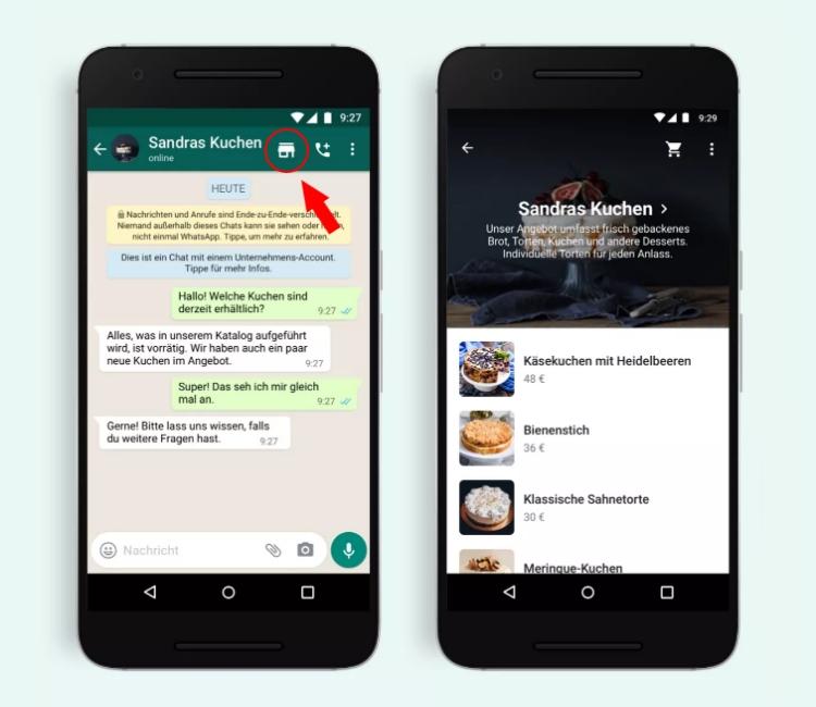 Br24 Blog WhatsApp führt neuen Shopping-Button ein: Ansicht Shopping Button und Katalog