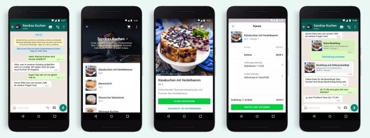 Br24 Blog WhatsApp führt neuen Shopping-Button ein: Ansichten vom WhatsApp Chat mit Shopping Button sowie Katalog