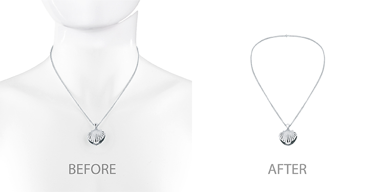 Br24 Blog How to shoot jewellery: Comparison of necklace before and after ghost model retouching