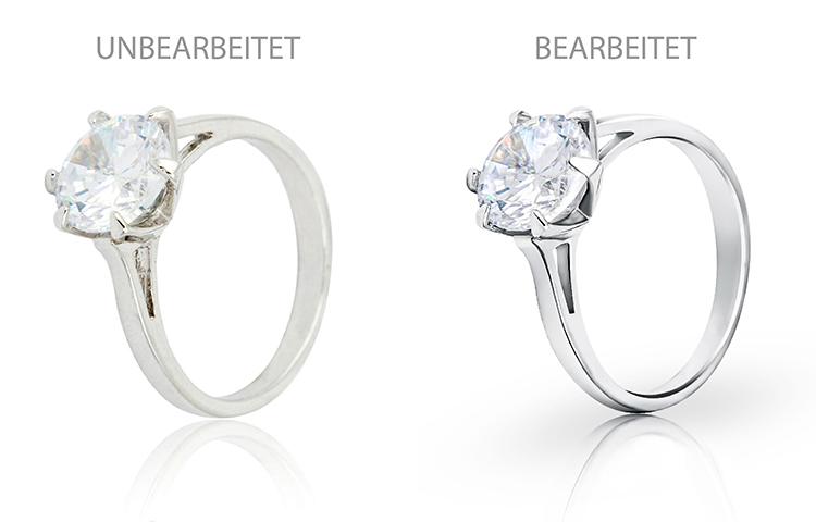 Br24 Blog Schmuck fotografieren für glänzende Produktbilder: Vergleich silbener Diamantring vor und nach Retusche