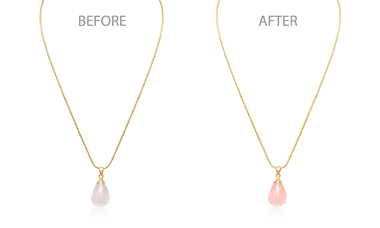 Br24 Blog How to shoot jewellery: Comparison of necklace with pink quartz pendant before and after retouching