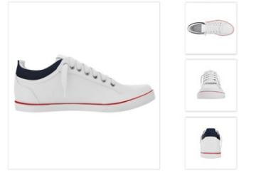 Br24 Onlineshops: Verschiedene Ansichten eines weißen Sneakers als Beispiel für Freisteller