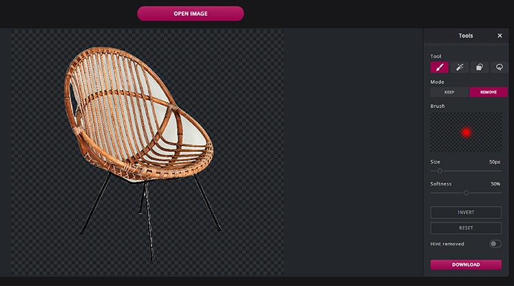 Br24 Wieviel kostet ein Freisteller und warum? Freisteller eines Stuhls, erstellt mit dem Pixlr Tool zum Hintergrund entfernen