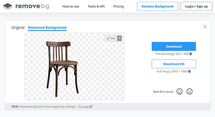Br24 Wieviel kostet ein Freisteller und warum? Freisteller eines Stuhls, erstellt mit dem remove.bg Tool zum Hintergrund entfernen