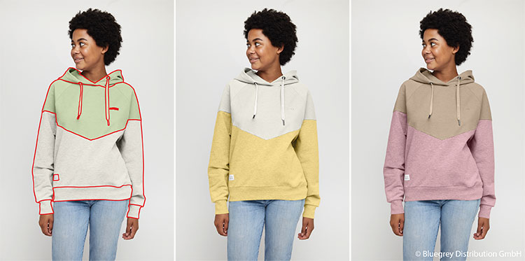Br24 Blog Unterschiede Freisteller, Alphamaskierungen & Maskierungen: Drei Bilder, die Maskierung eines Pullovers zeigen