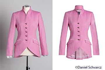 Br24 Onlineshops: Vorher-Nachher-Vergleich einer Jacke, bearbeitet mit der Ghostmodel-Technik