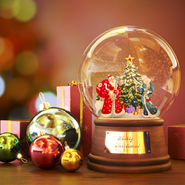 Br24 Home: Christmas Snow globe with Santa surrounded by gifts and glitter ball