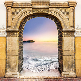 Br24 Home Image Retouch / Composing: oriental gate through which a sunset by the ocean can be seen, waves wash trough the gate