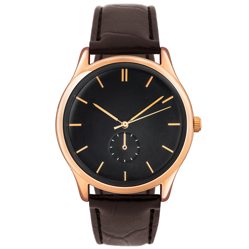 Br24 Clipping: e-commerce, jewellery, watch with shiny, brown leather and gold frame