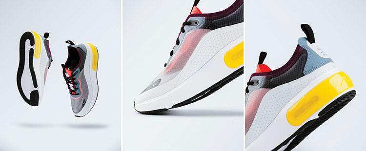 Br24 Schuhe fotografieren für Produktbilder: Drei Fotos von Turnschuhen mit Details zum Produkt