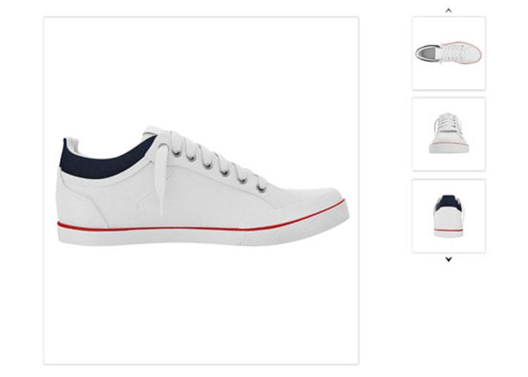 Br24 Schuhe fotografieren für Produktbilder: Verschiedene Perspektiven eines weißen Sneakers