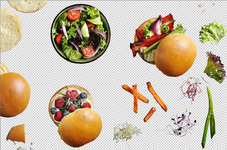 Br24 Wieviel kostet ein Freisteller und warum?: Draufsicht auf verschiedene Lebensmittel auf transparentem Hintergrund vor Freistellen