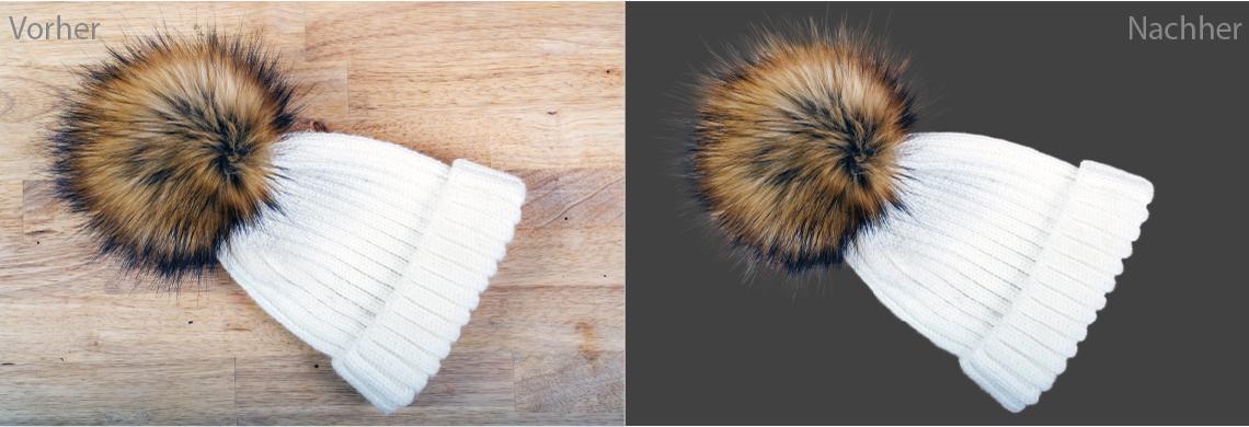 Br24 Produktbilder Alphamasken: Vorher-Nachher-Bilder einer Wollmütze mit Fellpuschel, vorher das Originalbild, nachher freigestellt mit Alphamaske