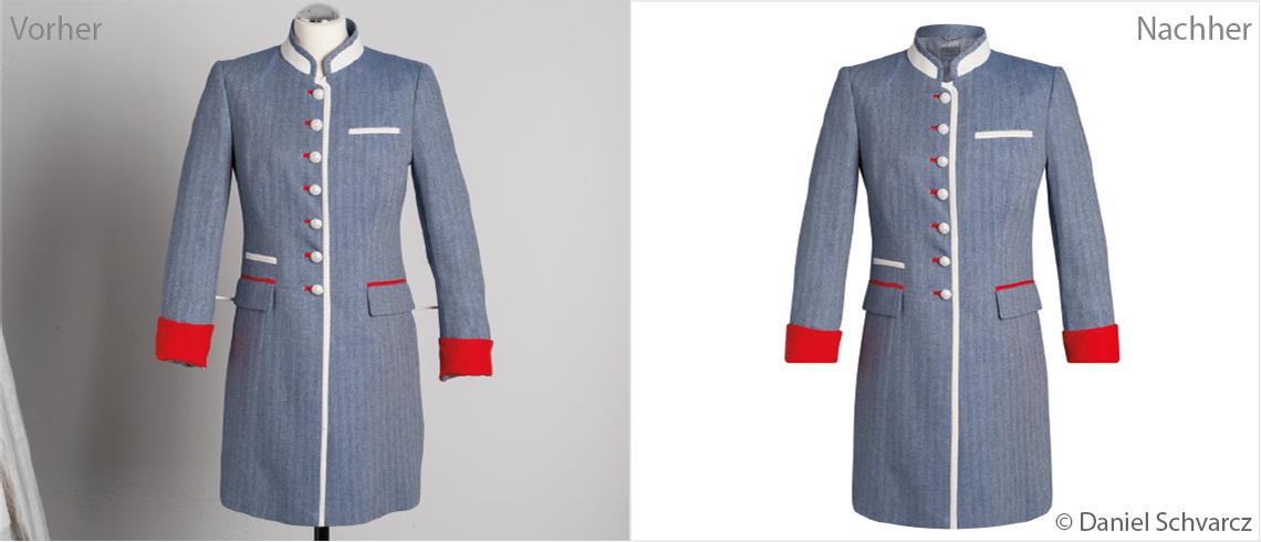 Br24 Produktbilder Ghostmodel: Vorher-Nachher-Bilder einer Jacke, die den Bildbearbeitungsprozess des Ghostmodels veranschaulichen