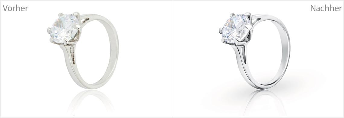 Br24 Produktbilder Bildretusche: Vorher-Nachher-Vergleich von Bildretusche eines Diamantringes