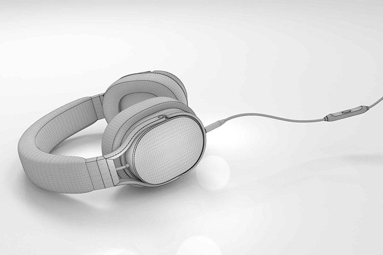 CGI: 3D Modell eines Kopfhörers vor Färben und Texturierung
