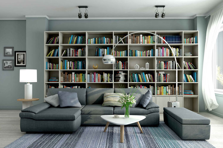 Real Estate: 3D model of a living room after colouring and texturing