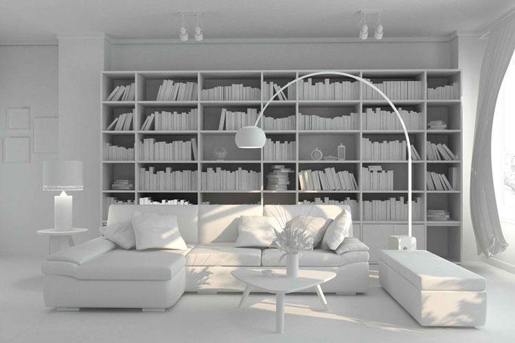Real Estate: 3D model of a living room before colouring and texturing