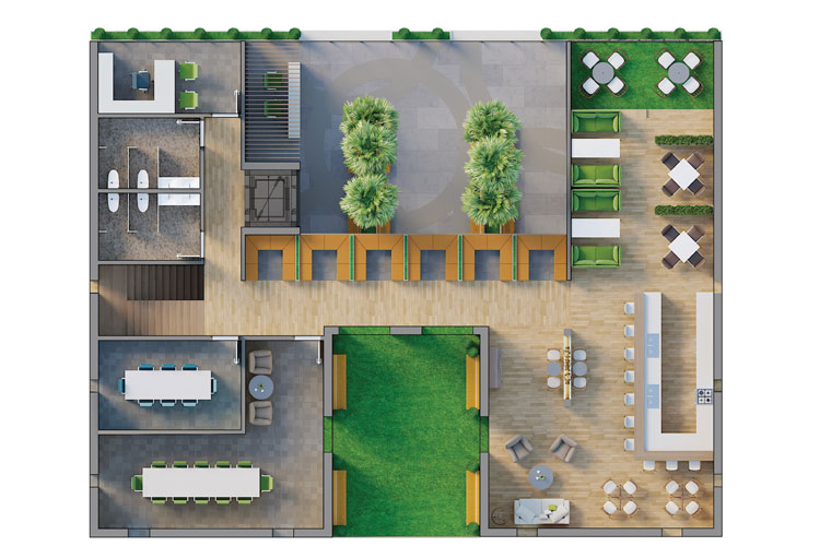 Real Estate: Coloured and textured floor plan, created with the real estate floor plan service