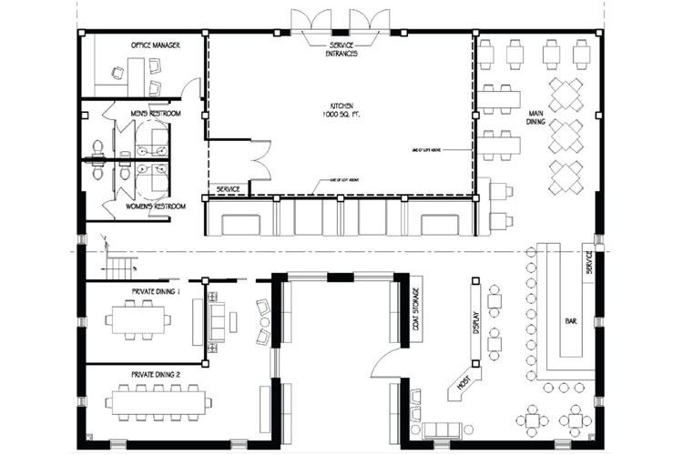 Real Estate: Black and white floor plan sketch as basic for the real estate floor plan service