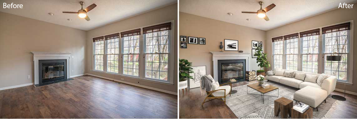Real Estate photo editing services: Virtual Staging before and after