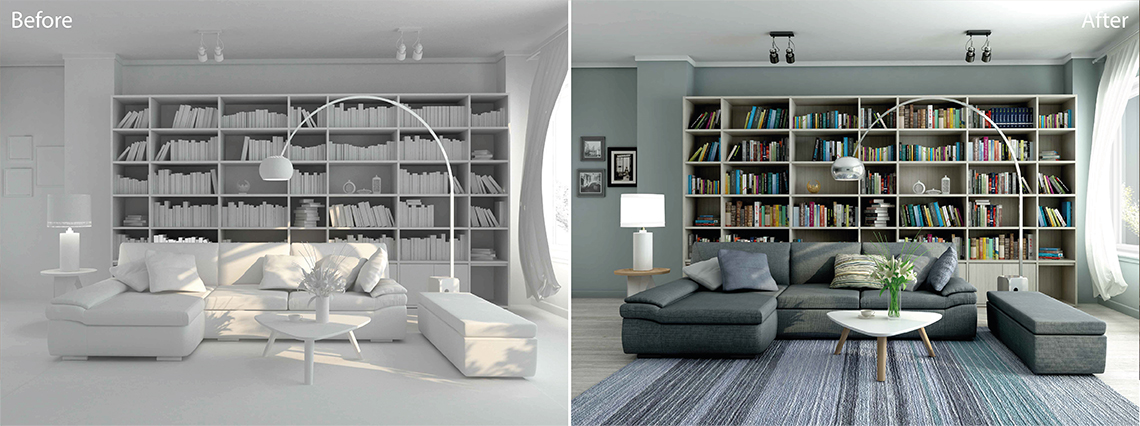 Real Estate photo editing services: CGI model and rendering of a living room
