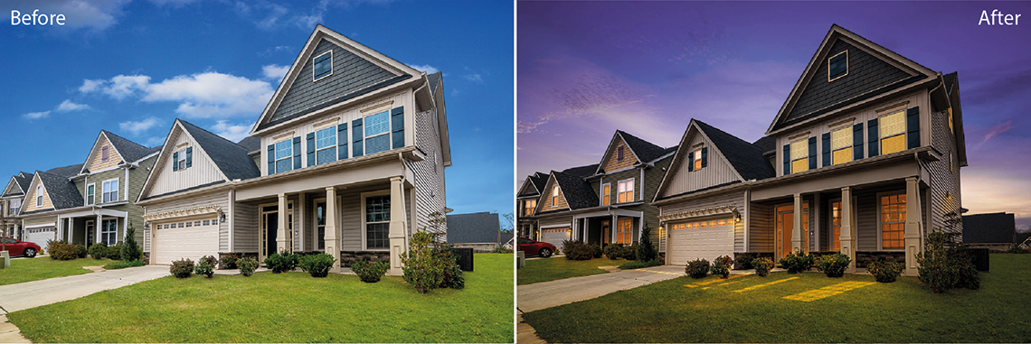 Real Estate photo editing services: Sky change and day to dusk, before and after