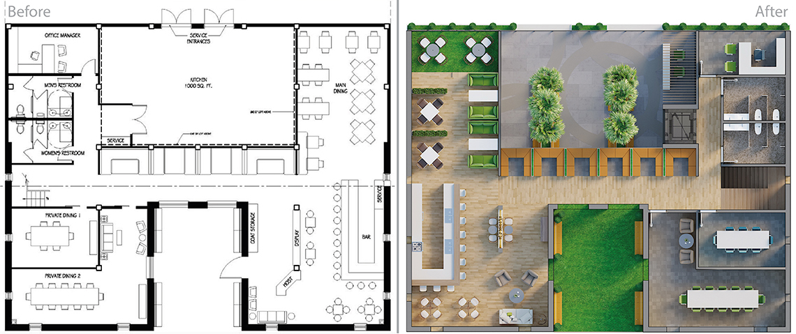 Real Estate photo editing services: 2D floor plan in black & white and coloured & textured