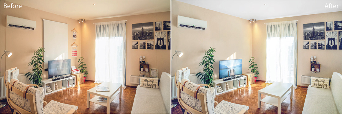 Real Estate photo editing services: Image enhancement before and after