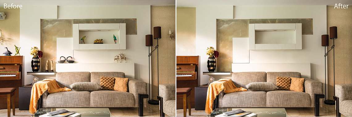 Real Estate photo editing services: Item removal before and after