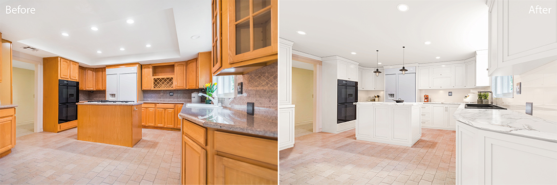 Real Estate photo editing services: Virtual Renovation before and after