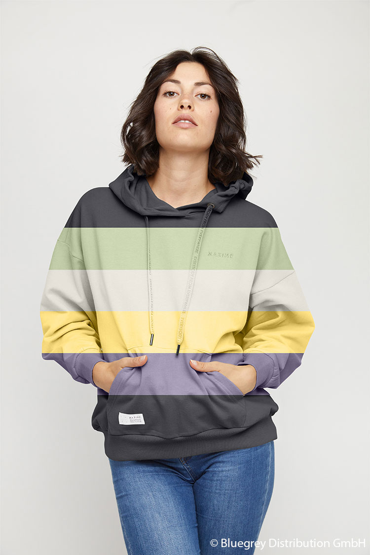 Br24 Recolouring: Product, model with a sweater with different coloured stripes which were created using the recolouring method