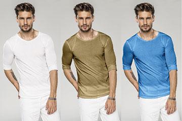 Br24 Onlineshops: männliches Model mit T-Shirt in drei verschiedenen Farbvarianten als BEispiel für Farbmasken und Umfärber