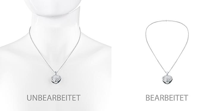 Br24 Blog Schmuck fotografieren für glänzende Produktbilder: Vergleich Kette vor und nach Ghostmodel Retusche