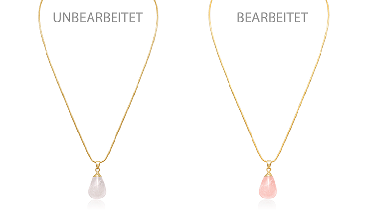 Br24 Blog Schmuck fotografieren für glänzende Produktbilder: Vergleich Kette mit rosa Quarzanhänger vor und nach Retusche