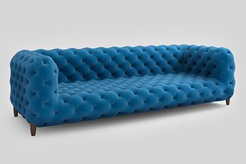 Br24 Onlineshops: 3D-Modell eines blauen Sofas als Beispiel für Produktvisualisierung in CGI