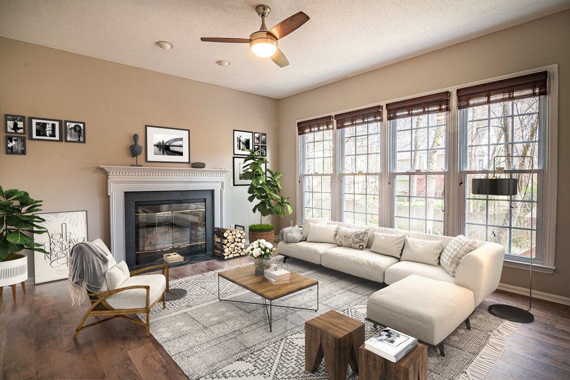 Real Estate: Room with big windows and a fireplace and additional furniture as well as decoration after virtual staging