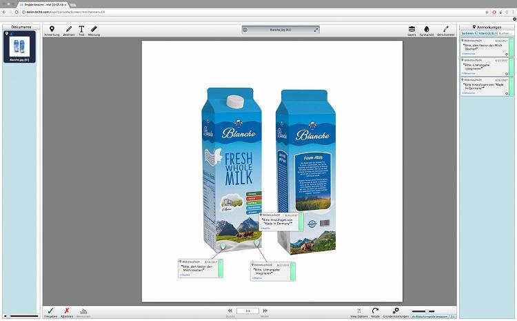 Br24 Layout: Finale Korrekturen von Milchverpackung im Softproof System DALIM