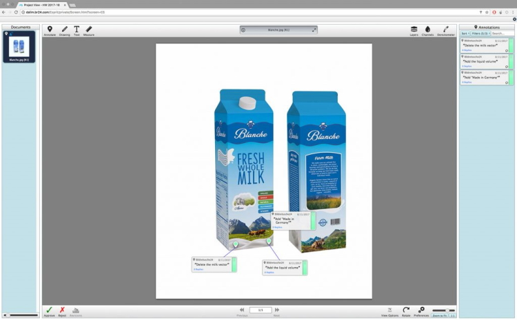 Br24 Layout: Final correction of design of milk packaging in softproof system DALIM