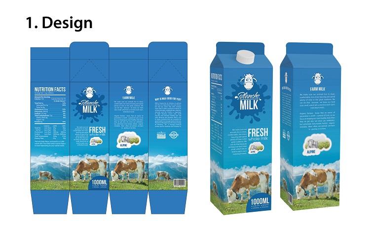 Br24 Layout: erster Entwurf für Design von Milchverpackung