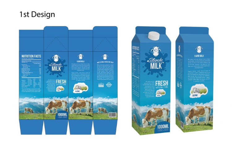 Br24 Layout: first design draft of milk packaging