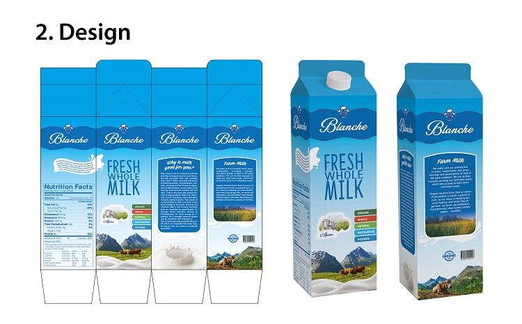 Br24 Layout: zweiter Entwurf für Design von Milchverpackung