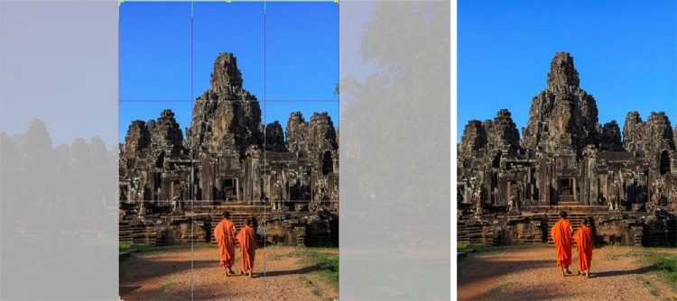 Br24: two monks in front of temple in Cambodia during optimisation/ zwei Mönche vor Tempel in Kambodscha während Optimierung