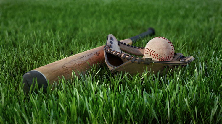 Br24: CGI baseball equipment on green grass/ CGI Baseball Ausrüstung auf grünem Gras