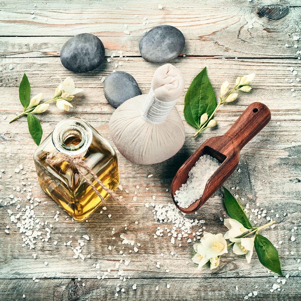 Br24 Retusche: Werbung, Ausrüstung Spa mit Massageöl und Naturprodukten