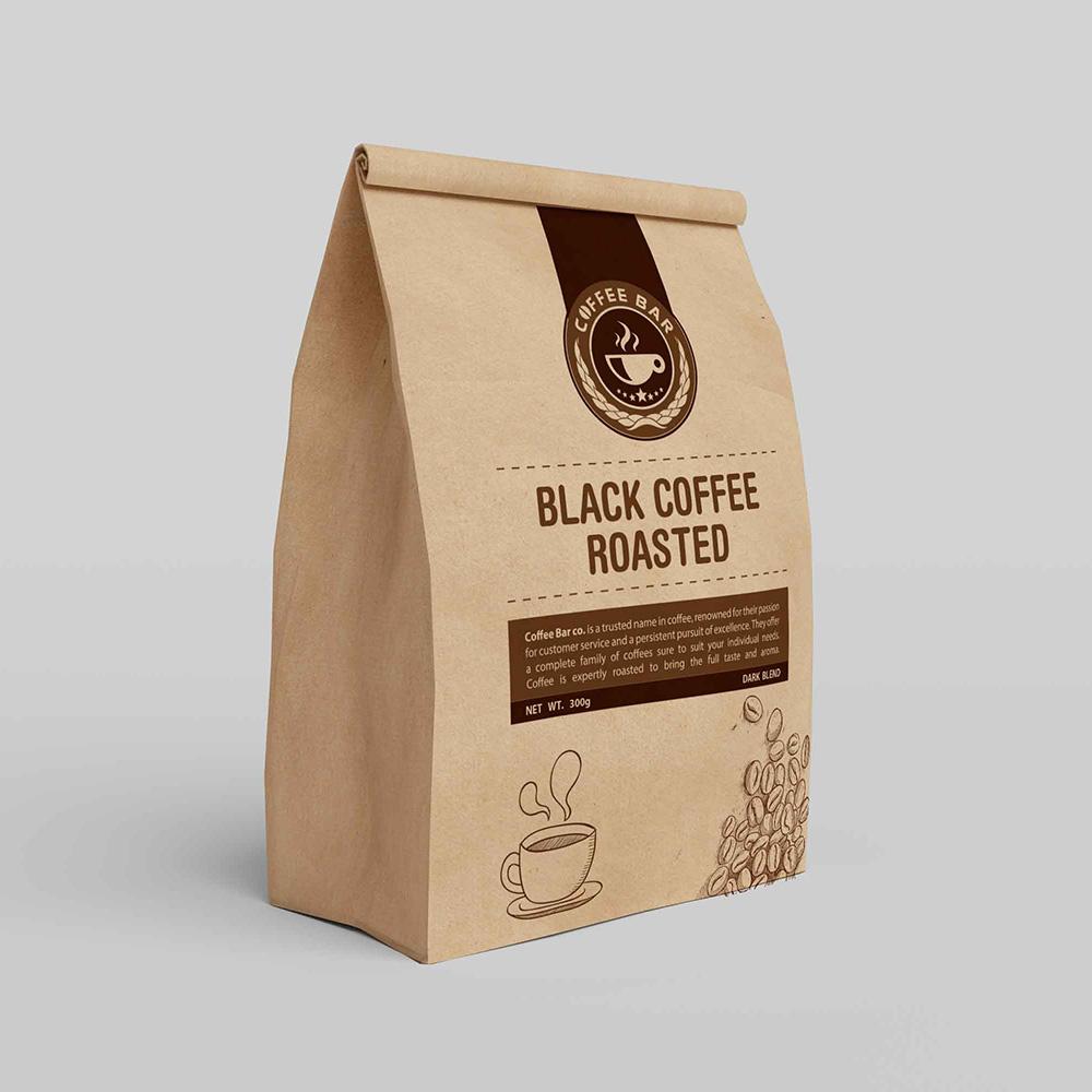 Br24 Layoutgestaltung: Verpackung, braune Kaffeetüte mit Logo, Illustration und Beschreibung