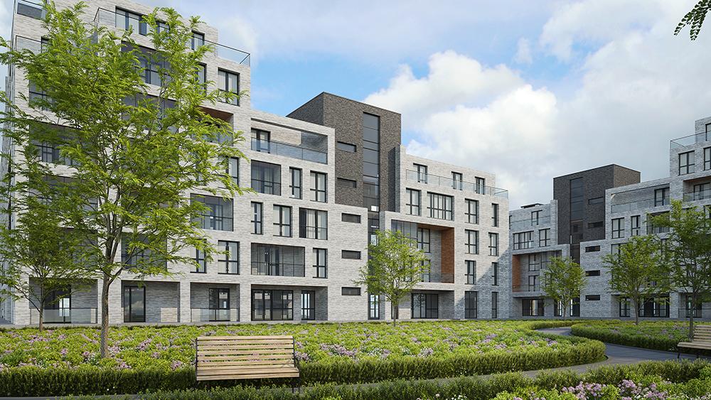 Br24 CGI / 3D: Außenansicht, moderner Apartmentkomplex, davor grüner Park