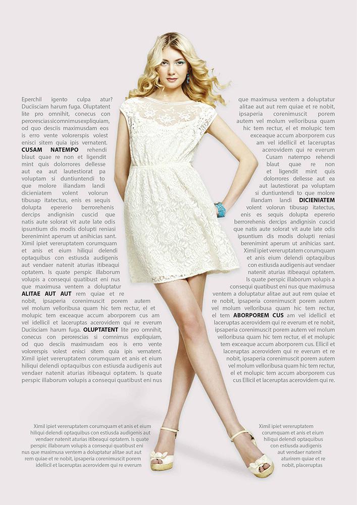 Br24 Layoutgestaltung: High-Fashion Zeitschrift, schöne Frau mit umfließendem Text