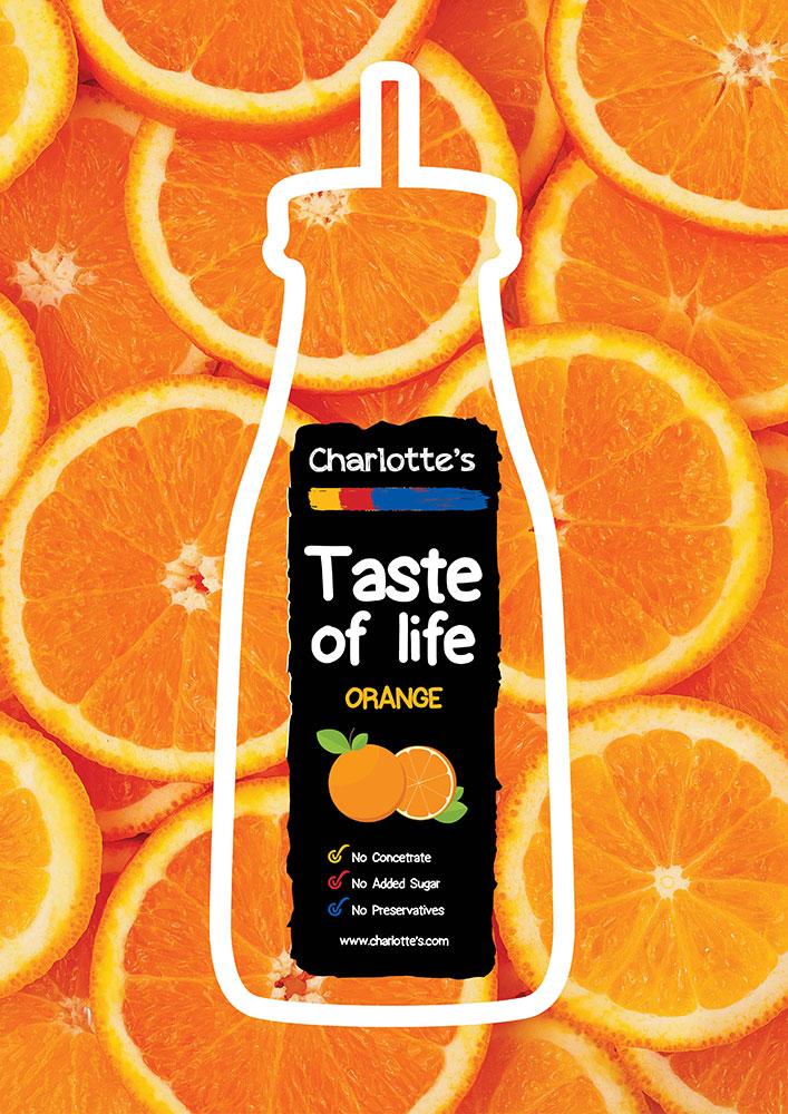 Br24 Advertising & Marketing: layout design for orange juice with fresh oranges and minimalistic contour of bottle