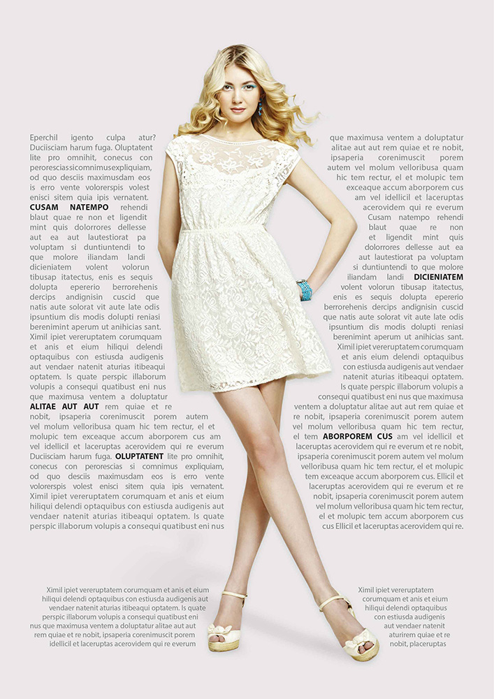 Br24 Layout Design: high fashion magazine, beautiful woman with surrounding text